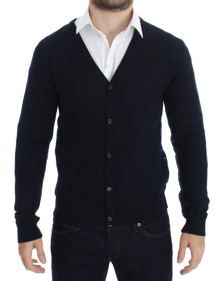 John Galliano Men's Wool Button Down Logo Cardigan Blue SIG17801 - S