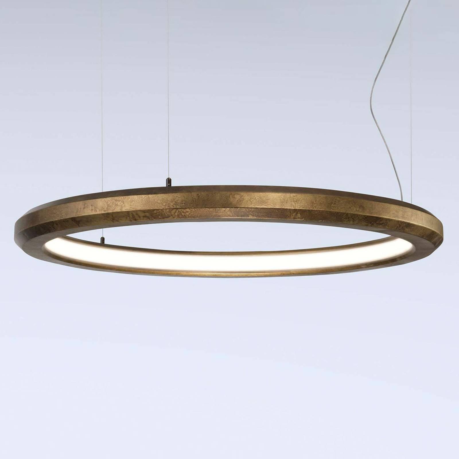 LED-riippuvalaisin Materica sisä, Ø 90 cm messinki
