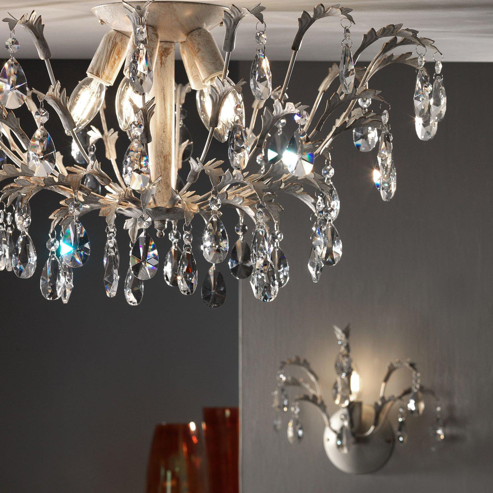Taklampe Cesta, tre lyskilder med krystaller