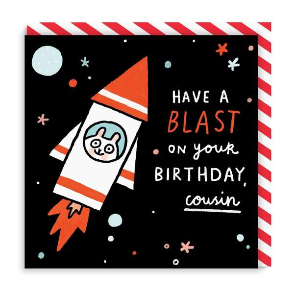 Cousin Have a Blast Square Birthday Greeting Card