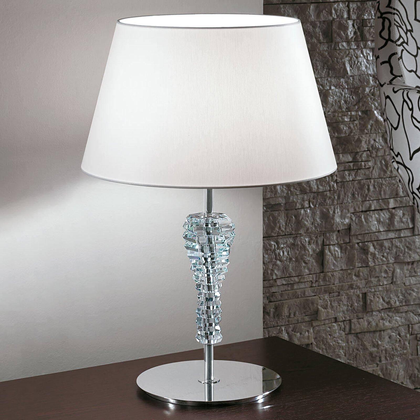 Crystal stor hvit bordlampe av tekstil