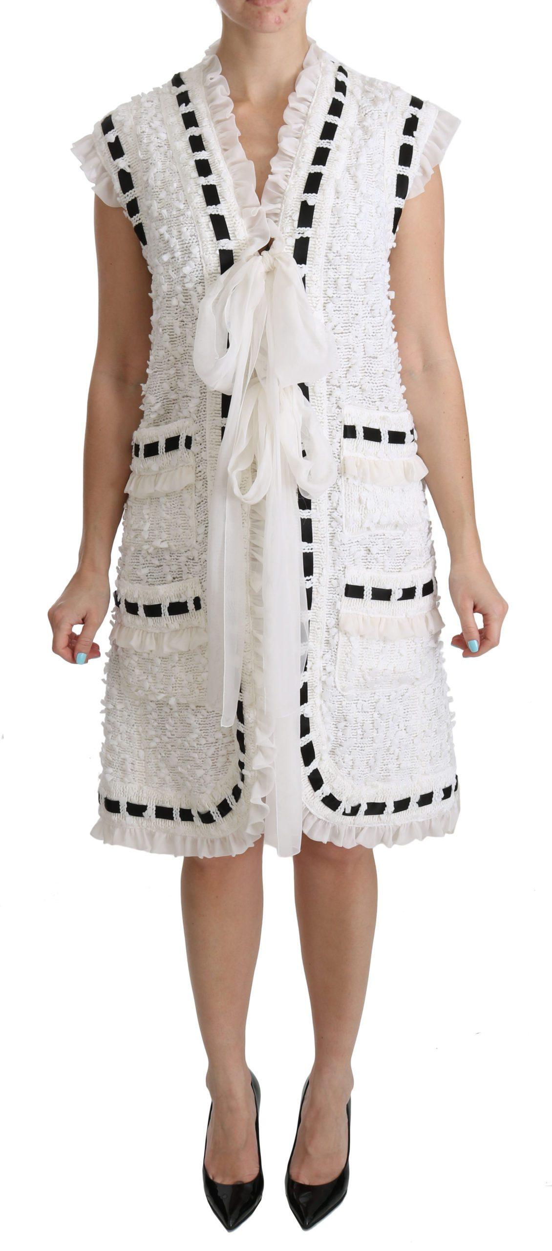 Dolce & Gabbana Women's Crochet Sleeveless Coat Jacket White DR2075 - IT40|S