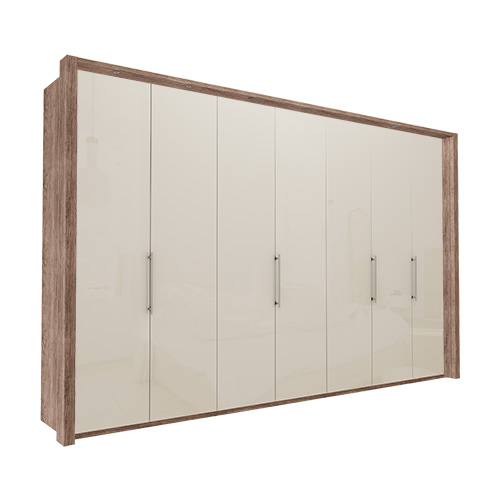 Garderobe Atlanta - Mørk rustikk eik 350 cm, 216 cm, Med ramme