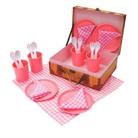 Pikniksett i plast, 21 deler, Rosa