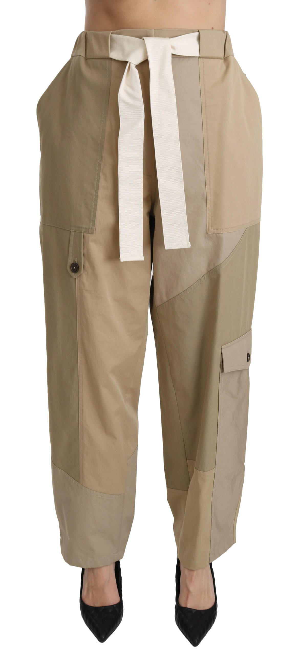 Dolce & Gabbana Women's High Waist Straight Cotton Trouser Beige PAN70846 - IT40|S