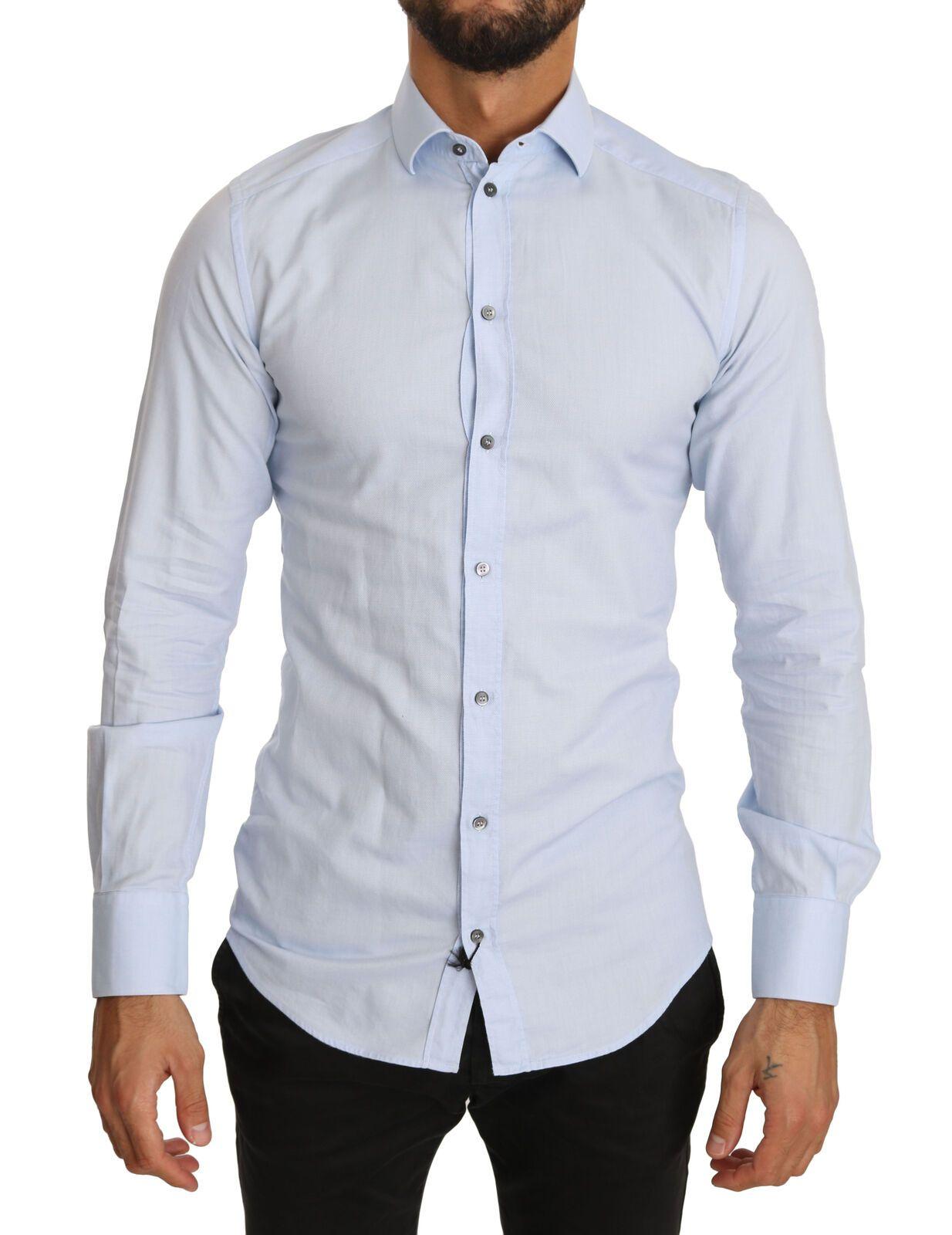 Dolce & Gabbana Men's Formal Dress Cotton Shirt light Blue TSH3900 - IT38 | XS