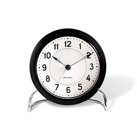 Arne Jacobsen Station bordsur, svart/hvit, Ø11 cm, alarmfunksjon