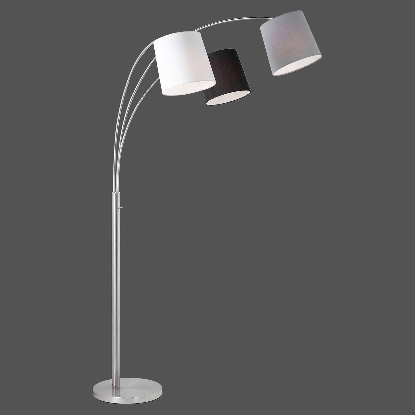 Melvin gulvlampe, 3 lyskilder, svart/grå/hvit