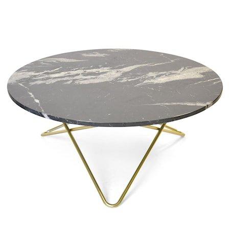 Large O Table Svart Marmor med Messingramme Ø100