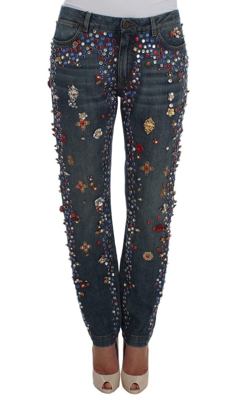 Dolce & Gabbana Women's Crystal Roses Heart Embellished Jeans Blue SIG19331 - IT44|L