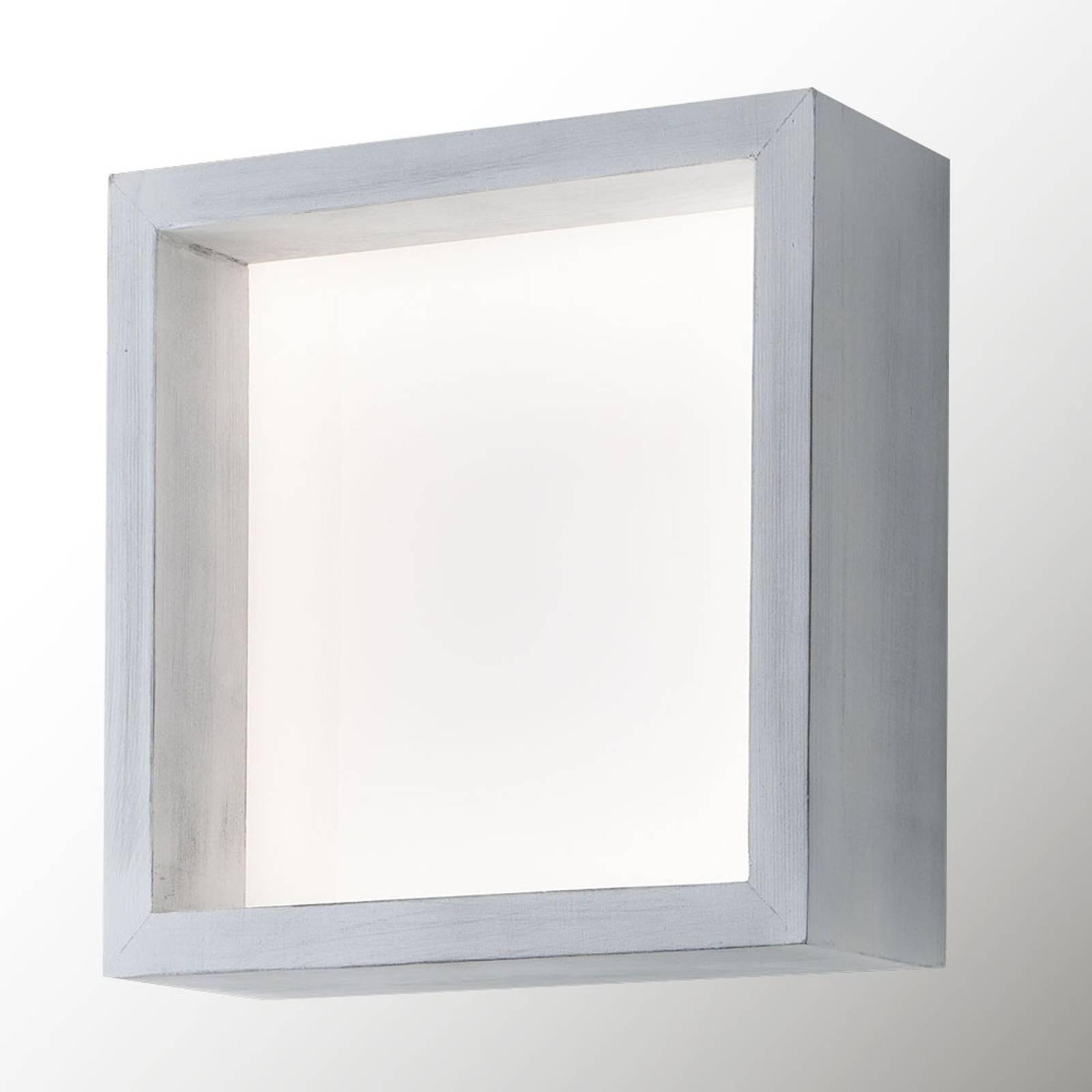 LED-vegglampe Window, 37 x 37 cm, vintage hvit