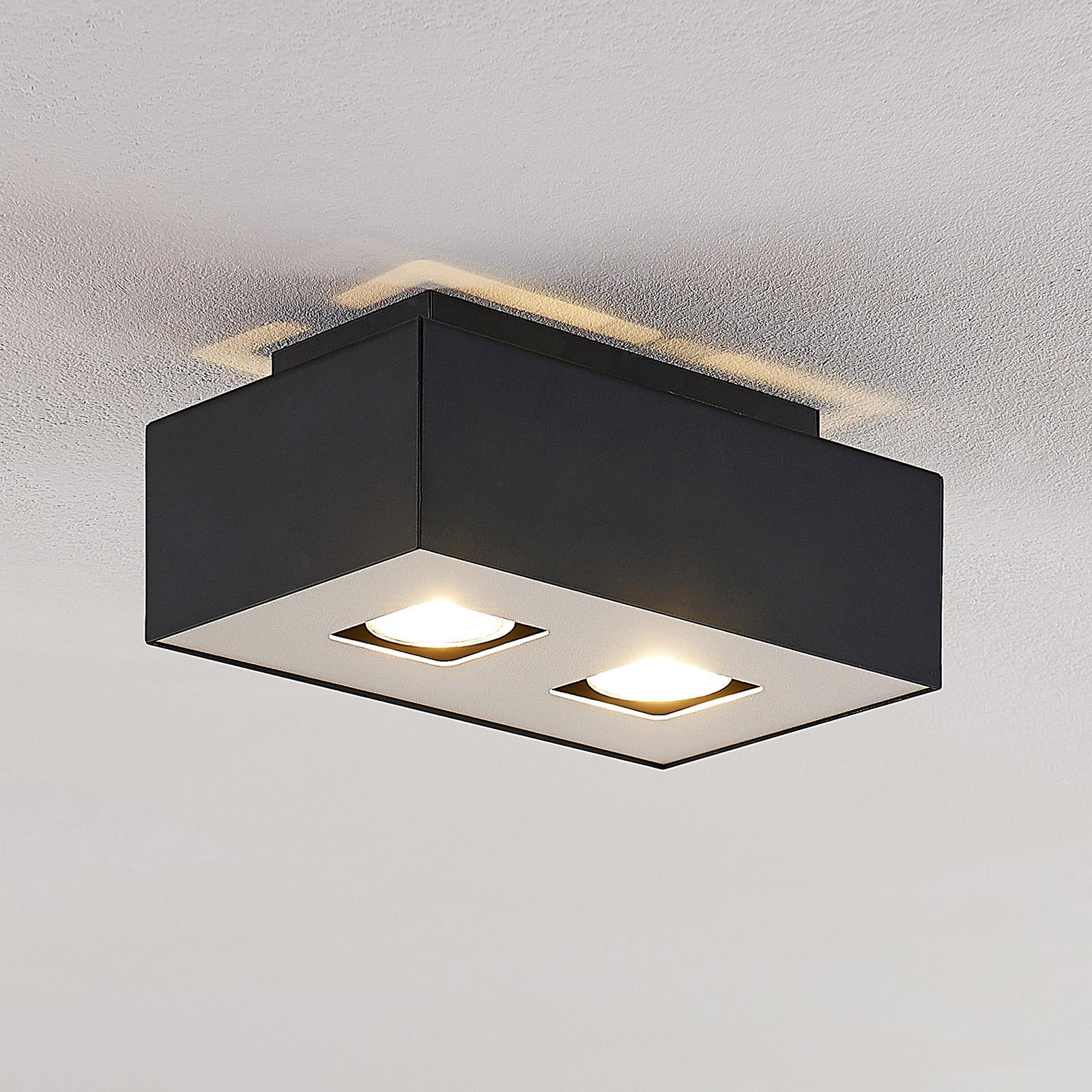 Lindby Kasi -kattovalaisin, musta, 2-lamppuinen