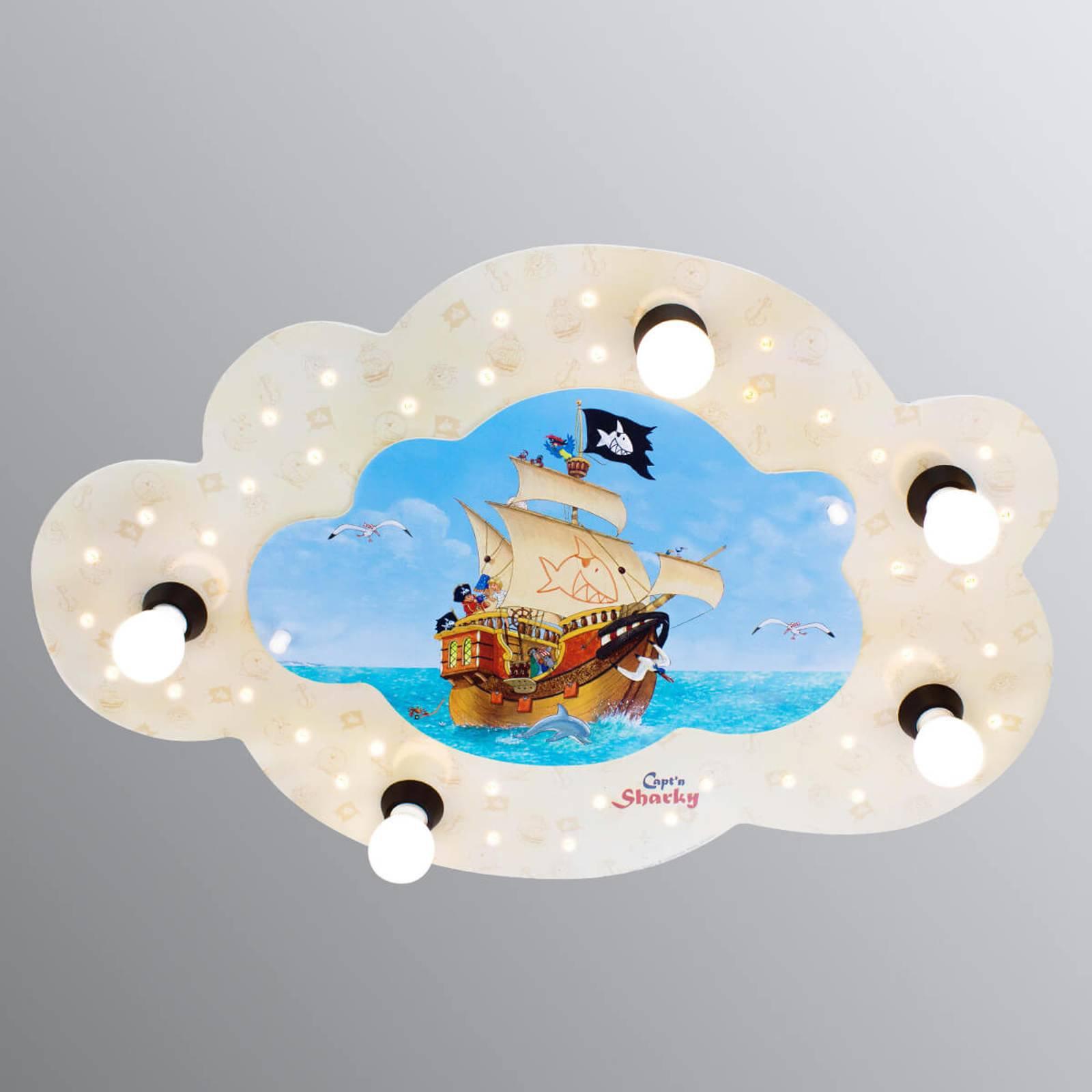 Skyformet taklampe Capt'n Sharky, LED-indikatorer