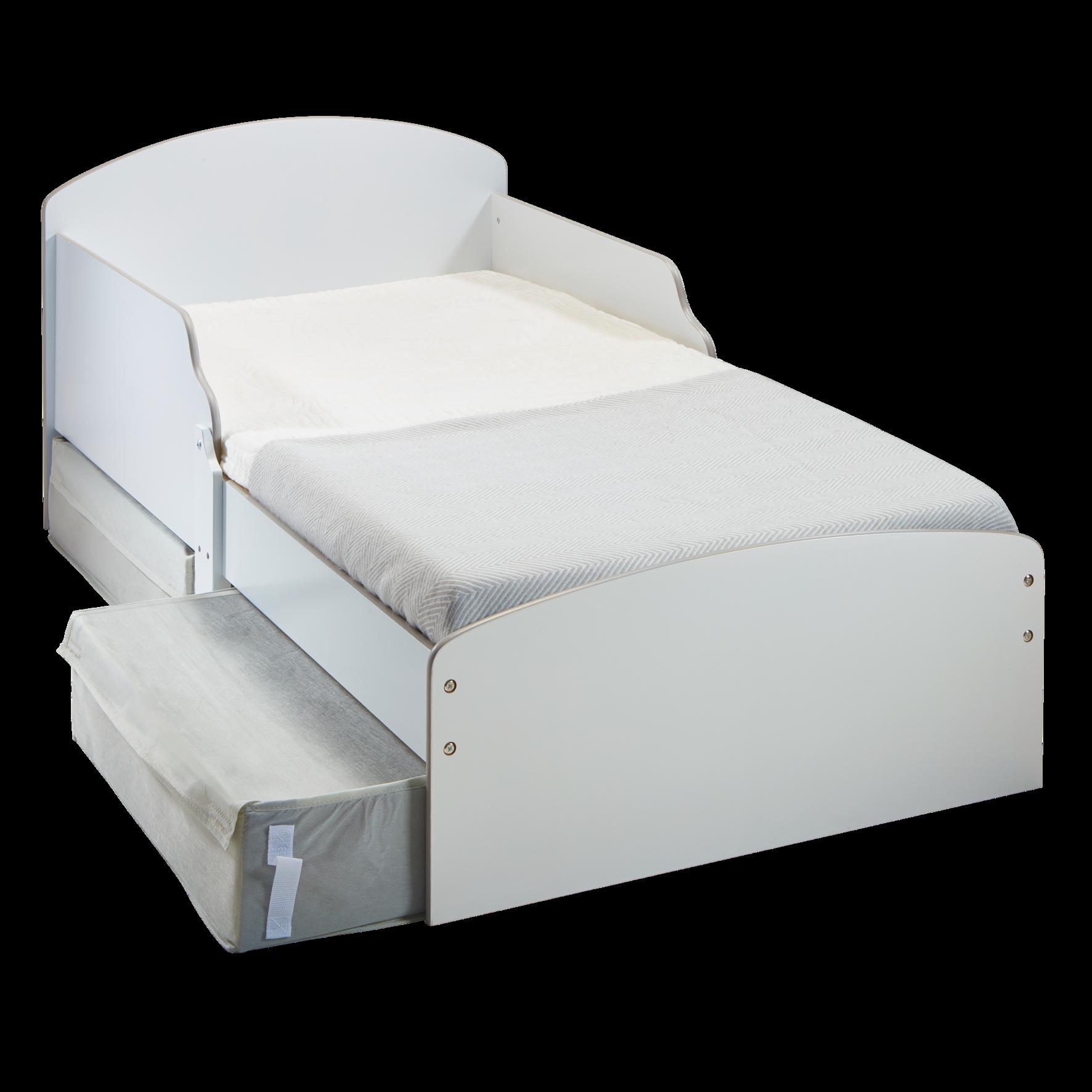 Kids White Toddler Bed with Storage (516GWH01EM)