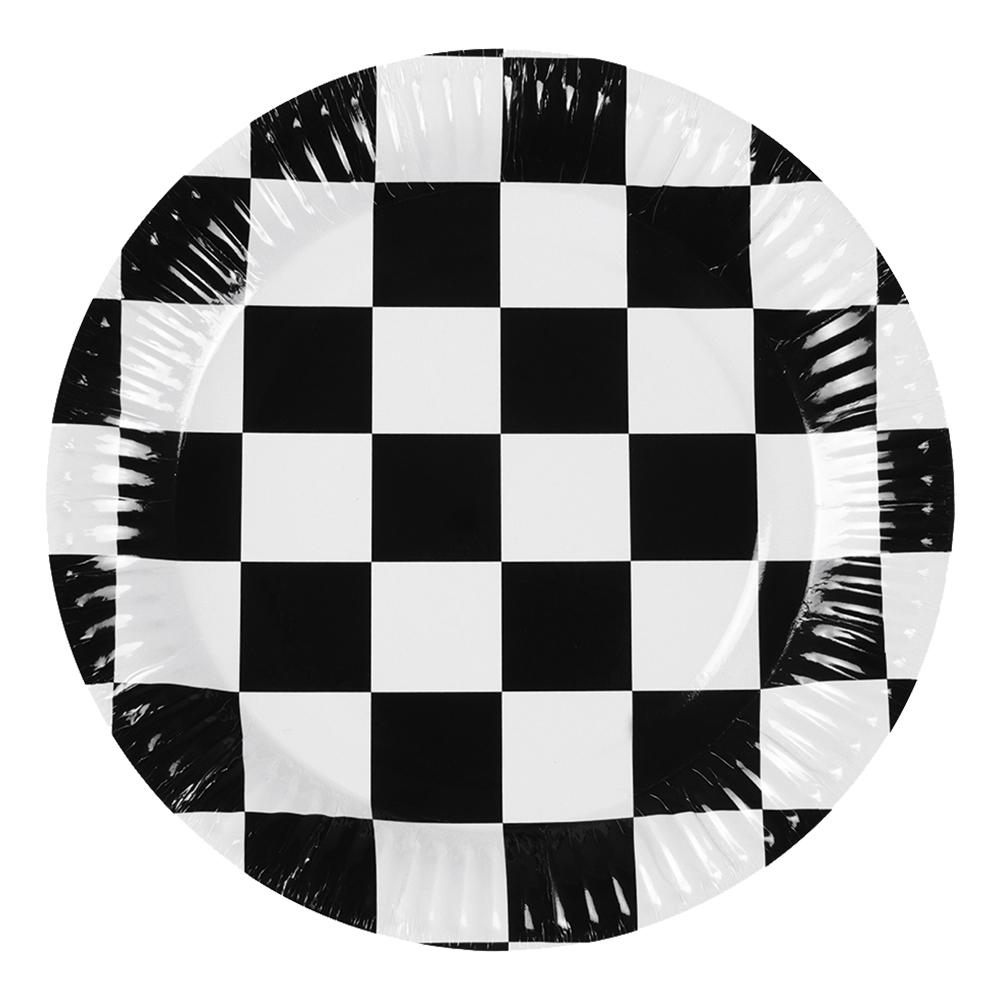 Papperstallrikar Schackrutiga - 6-pack