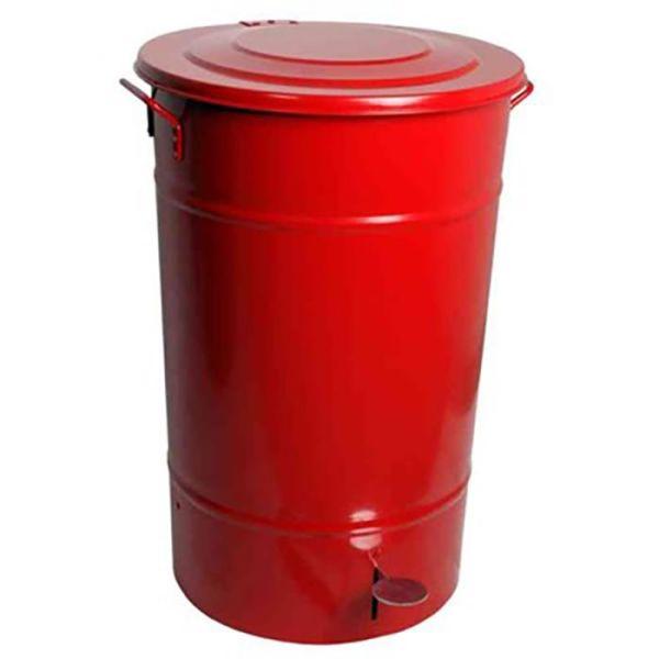 Hykab 11821.2 Avfallsbeholder med tramp, galvanisert, 70 l rød