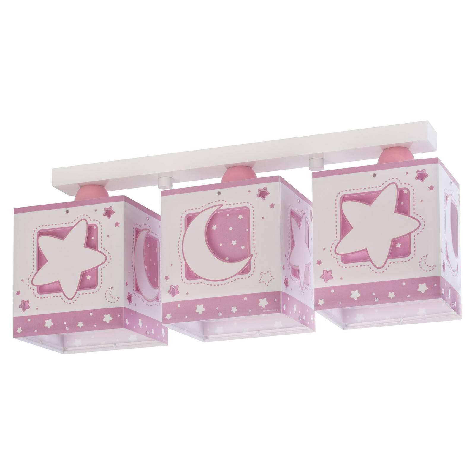 Lastenhuoneen kattovalo Moonlight, 3-lamp., roosa