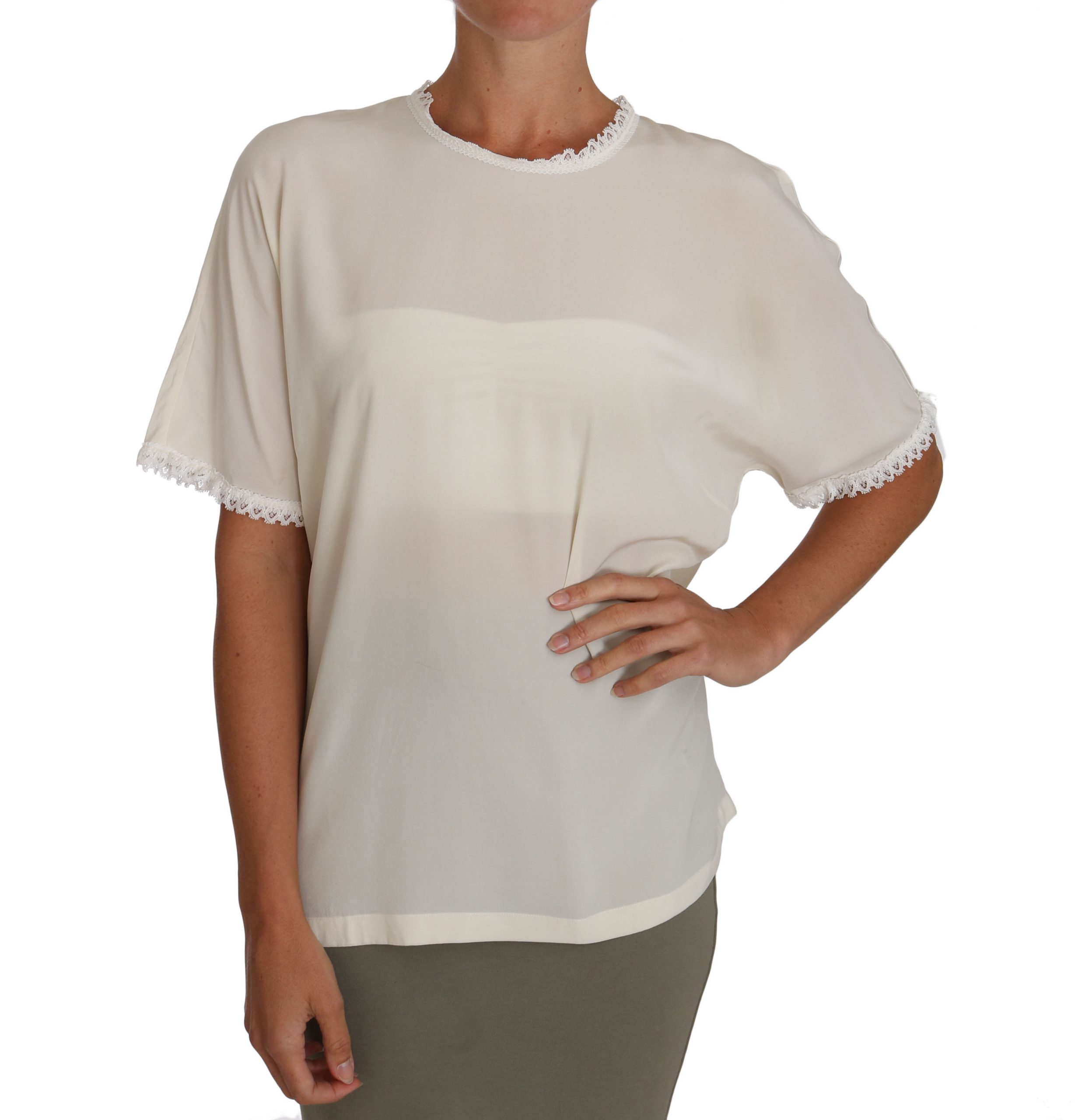 Dolce & Gabbana Women's Silk Lace Detailed Tops White TSH2687 - IT44|L