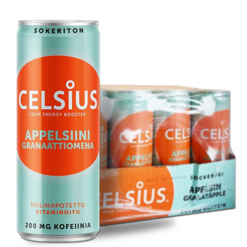 "Laatikollinen ""Appelsiini & Granaattiomena"" Celsius-juomia 24 x 355ml - 38% alennus"