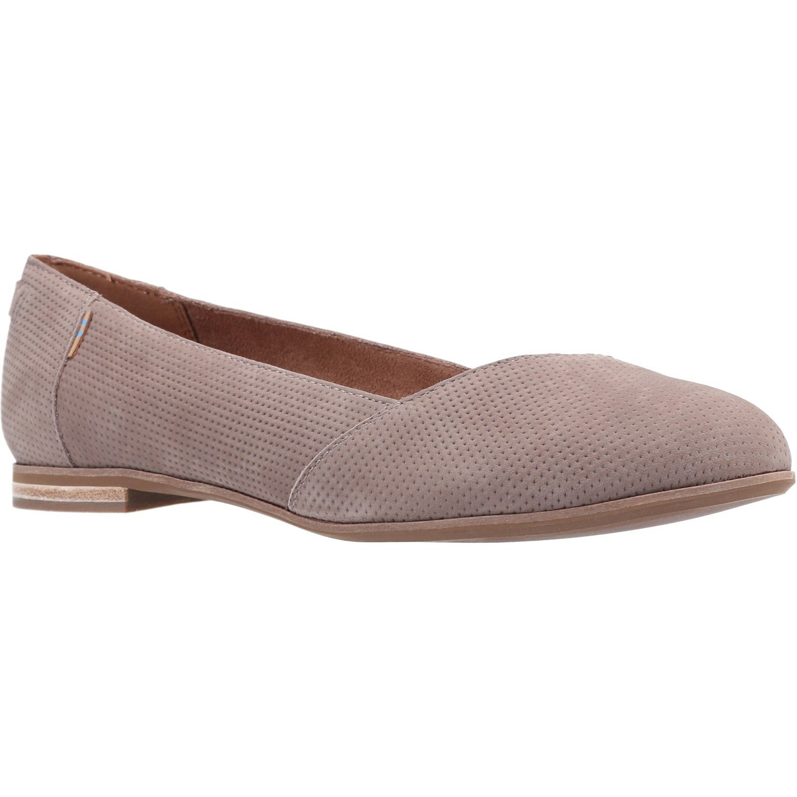 TOMS Women's Julie Flat Various Colours 31593 - Taupe Grey Suede/Perf 8