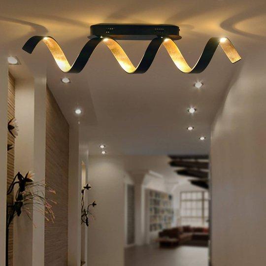 Helix LED-taklampe i svart gull