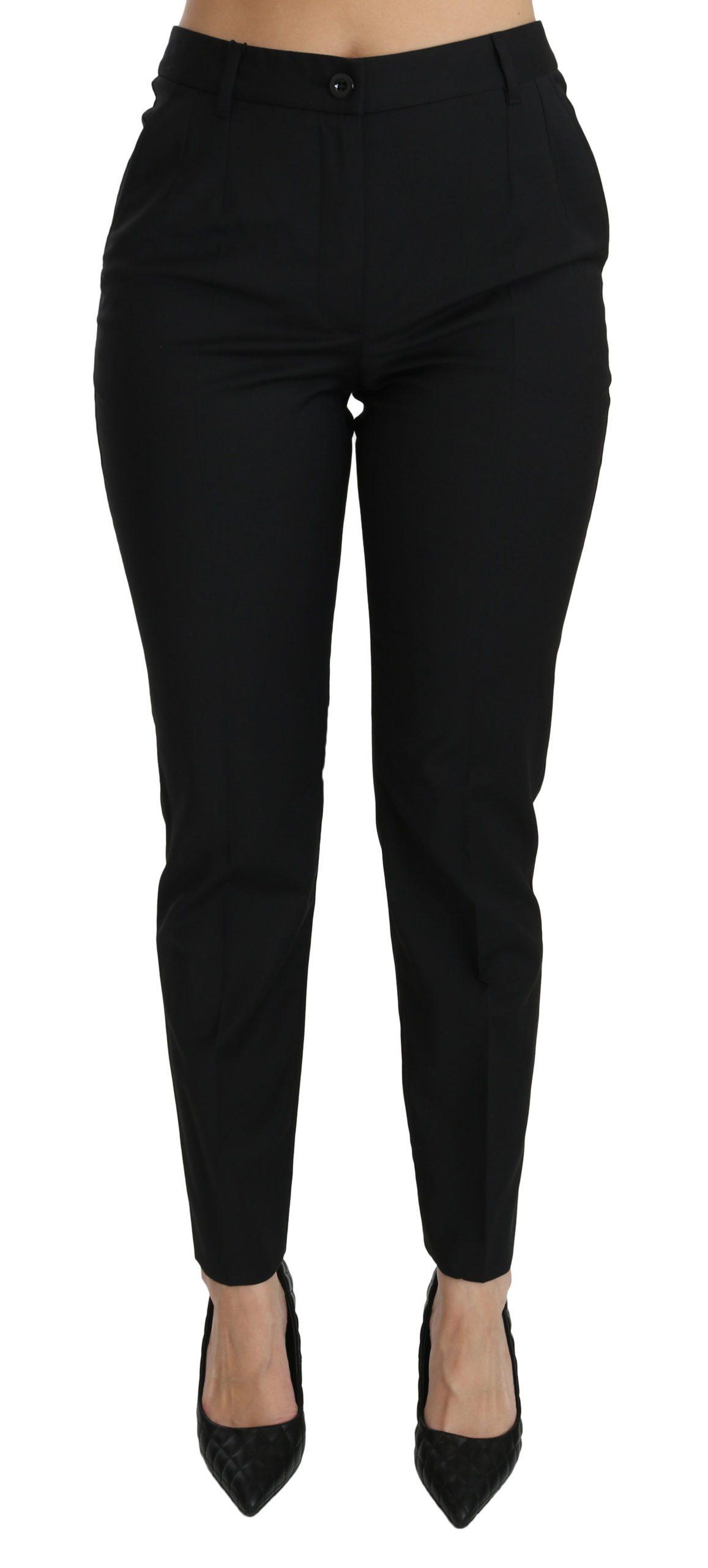 Dolce & Gabbana Women's Mid Waist Skinny Formal Trouser Black PAN70855 - IT42|M