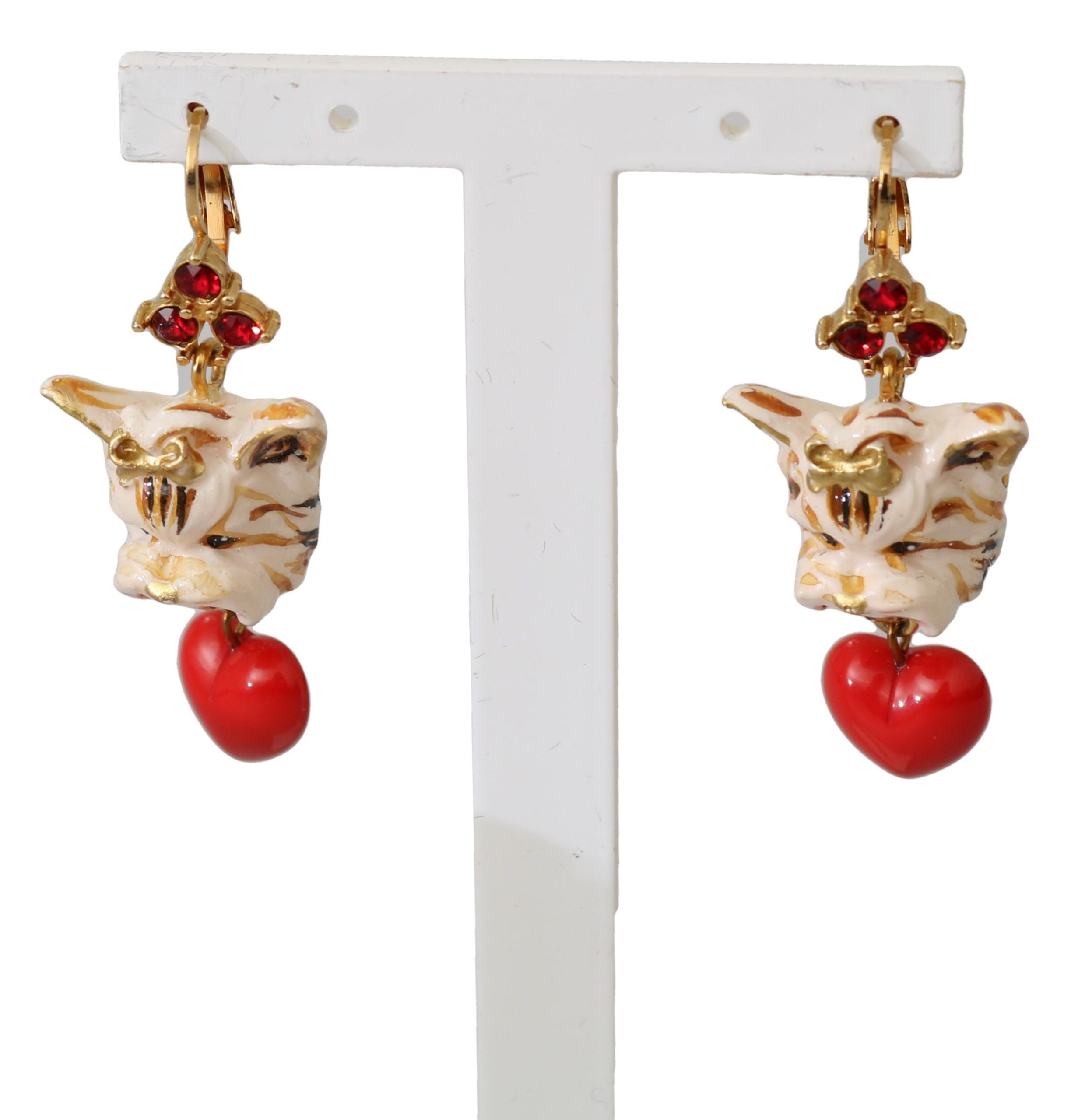 Dolce & Gabbana Women's Crystal Brass Leverback Earrings Red SMY100137