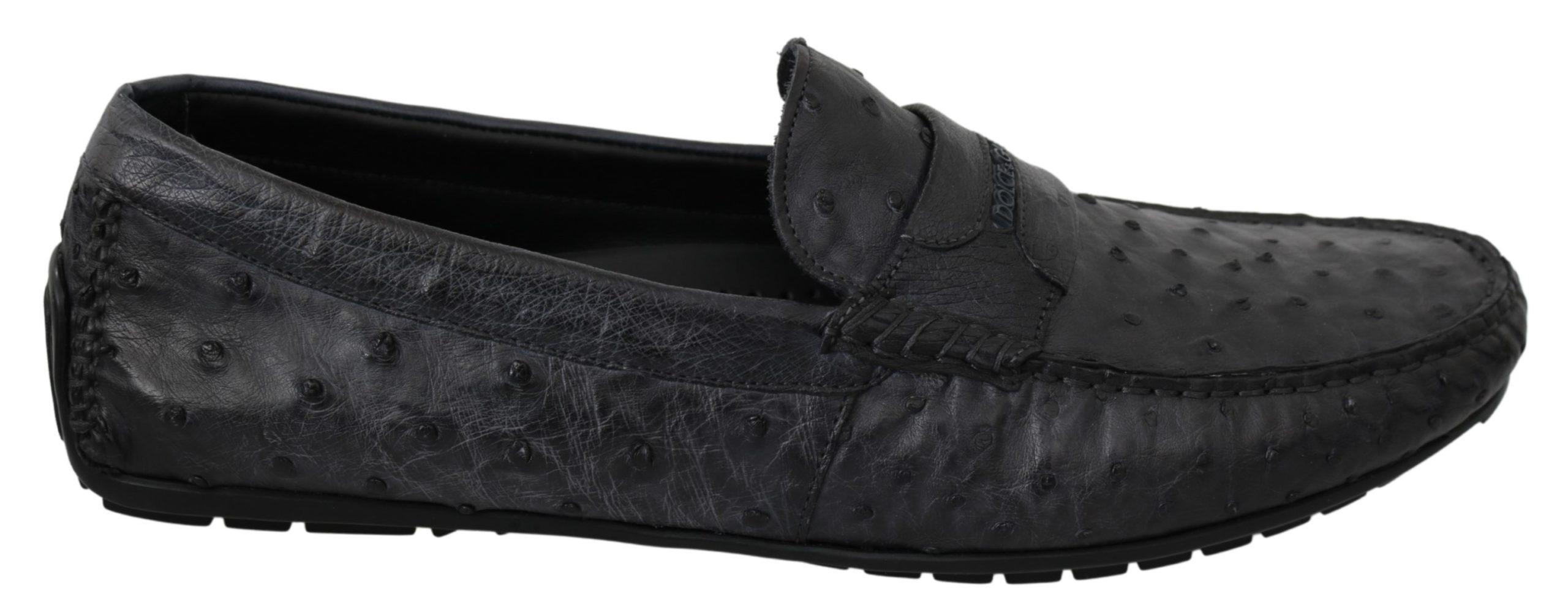 Dolce & Gabbana Men's Leather Exotic Skin Loafer Gray MV2852 - EU43/US10