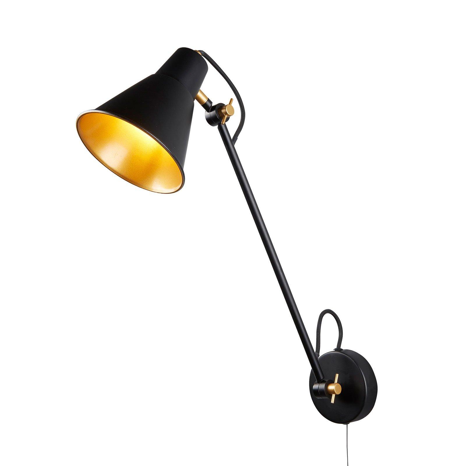 Vegglampe 6302 av metall, svart-gull