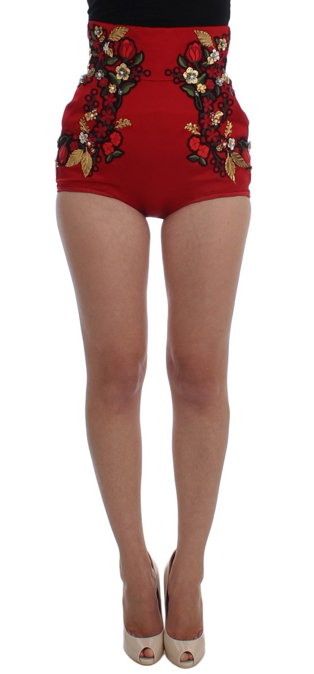 Dolce & Gabbana Women's Silk Pearls Roses Shorts Red SIG20123 - IT40 S