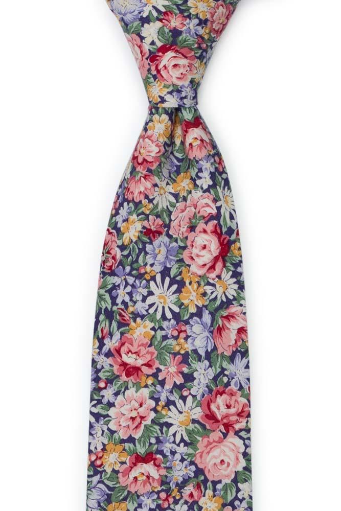 Bomull Slips, Rosa, blå, gule & grønne blomster på mørk lilla, Lilla, Blomster