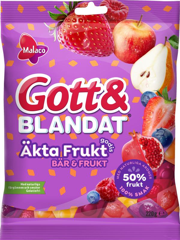 Malaco Gott & Blandat Äkta Fruktgodis Bär & Frukt 100g