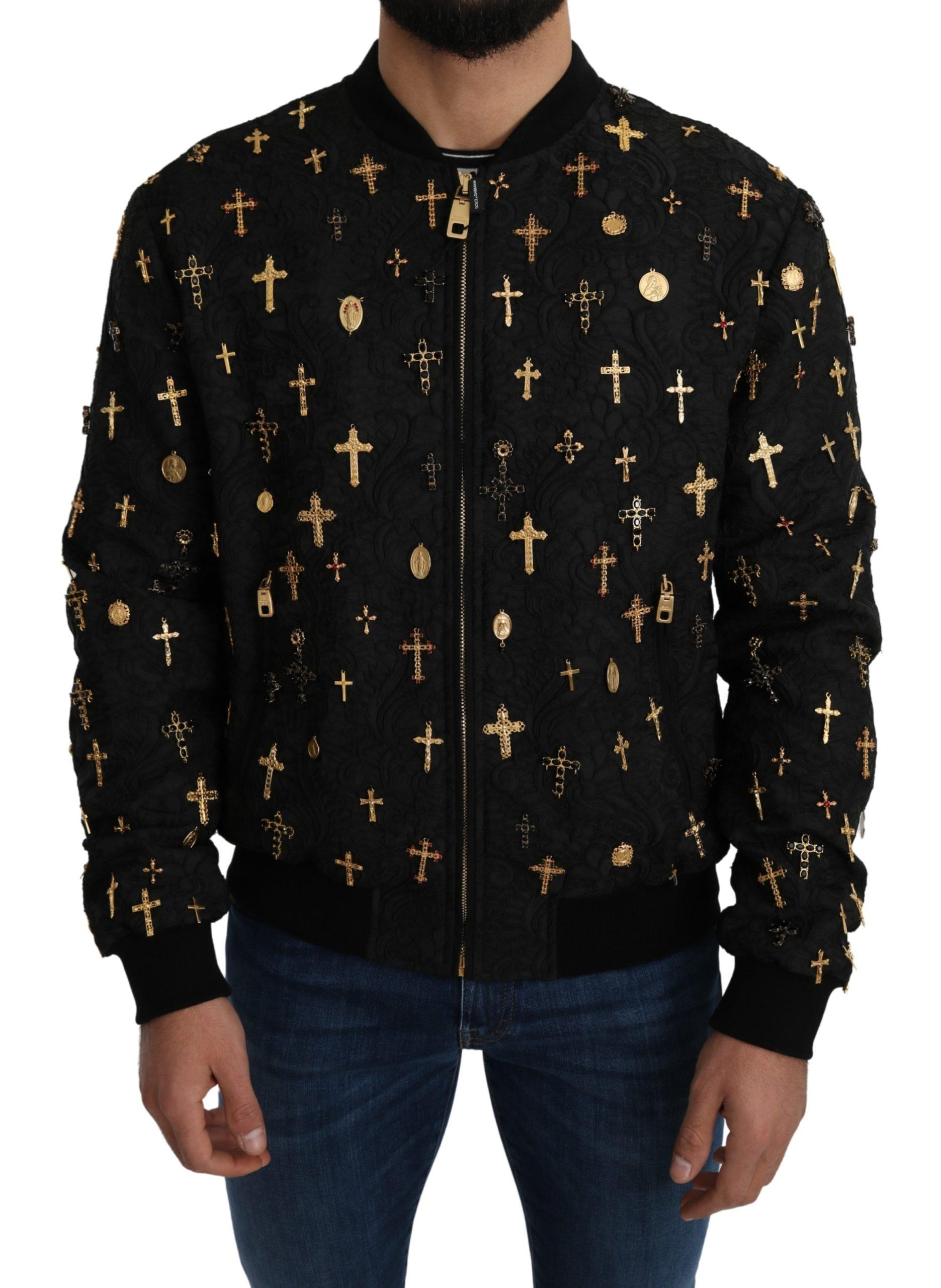 Dolce & Gabbana Men's Jacquard Cross Charms Bomber Jacket Black JKT2661 - IT54 | XL