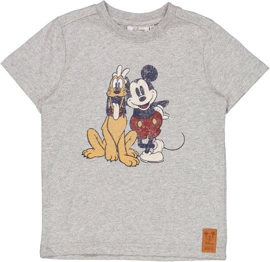 Wheat Mikke Mus & Pluto T-Shirt, Melange Grey, 104