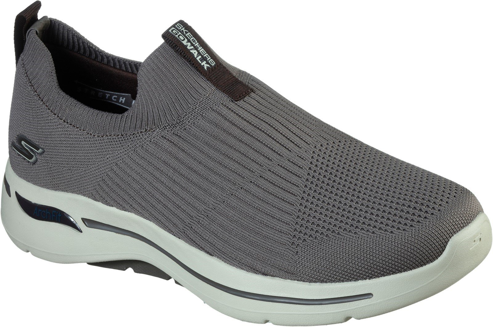 Skechers Men's Go Walk Arch Fit Slip On Trainer Various Colours 32203 - Taupe/Brown 6