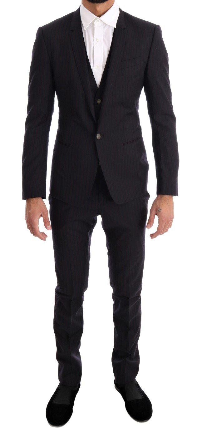 Dolce & Gabbana Men's Striped 3 Piece Slim Suit Blue KOS1061 - IT44 | XS