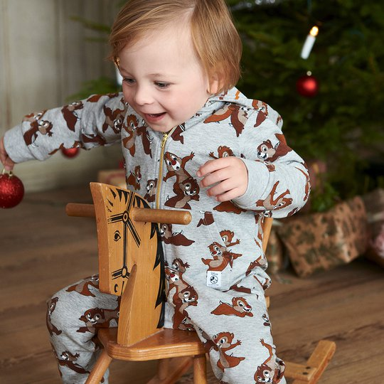 Dress med snipp og snapp-trykk baby gråmelange