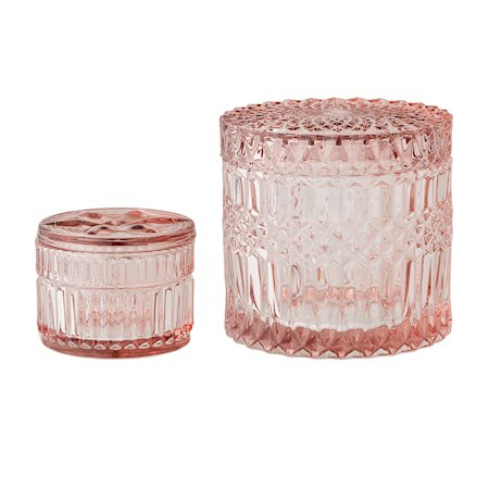 Glassboks med lokk Rosa 2-pakk