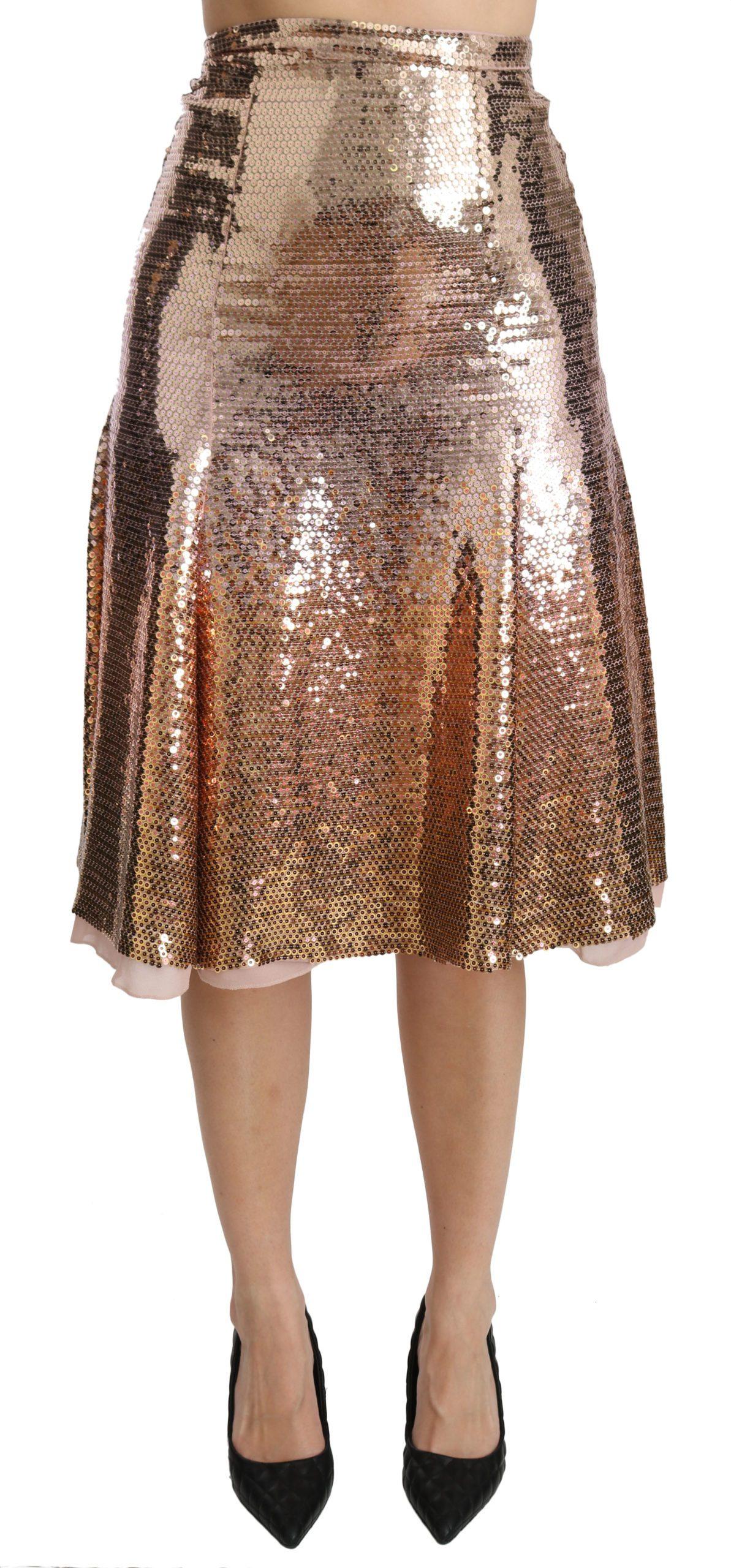 Dolce & Gabbana Women's Sequined High Waist Midi Skirt Gold SKI1343 - IT40|S