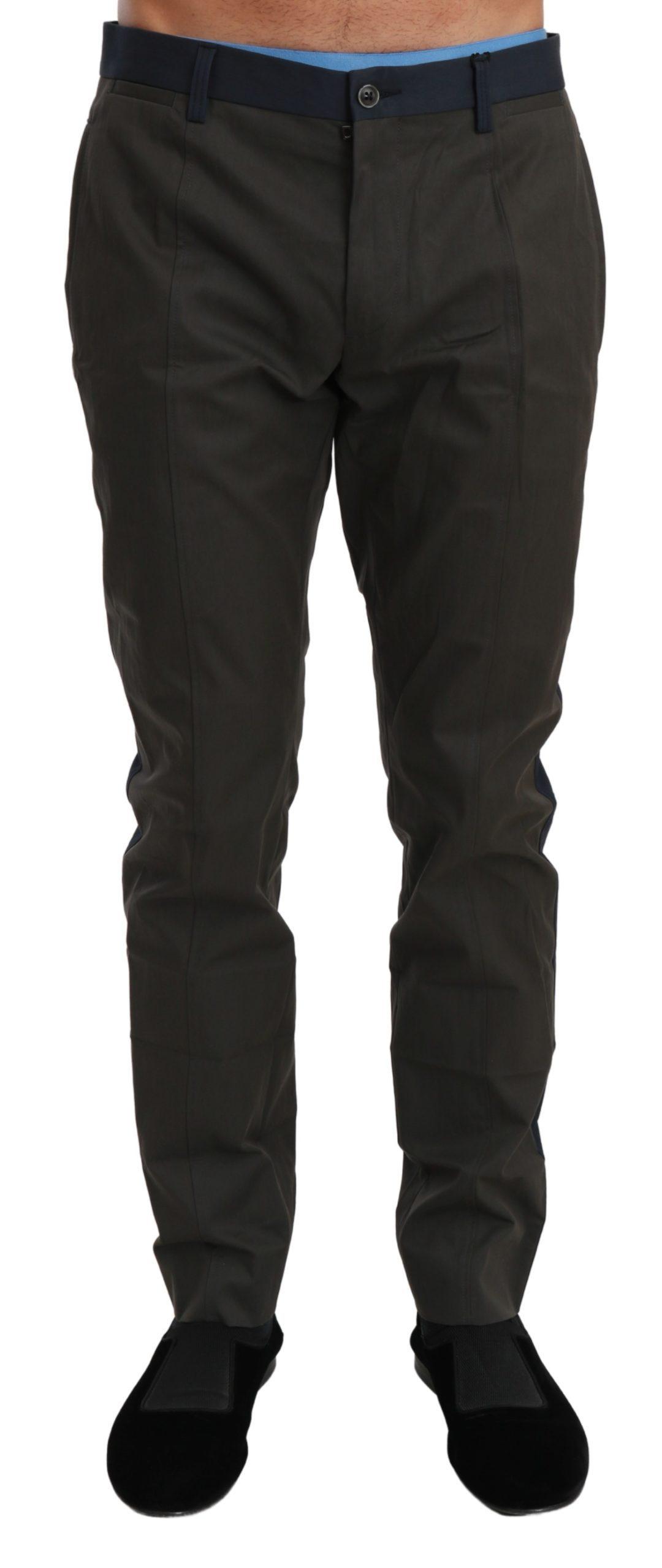 Dolce & Gabbana Men's Stripes Trouser Cotton Trouser Gray PAN70980 - IT44 | XS