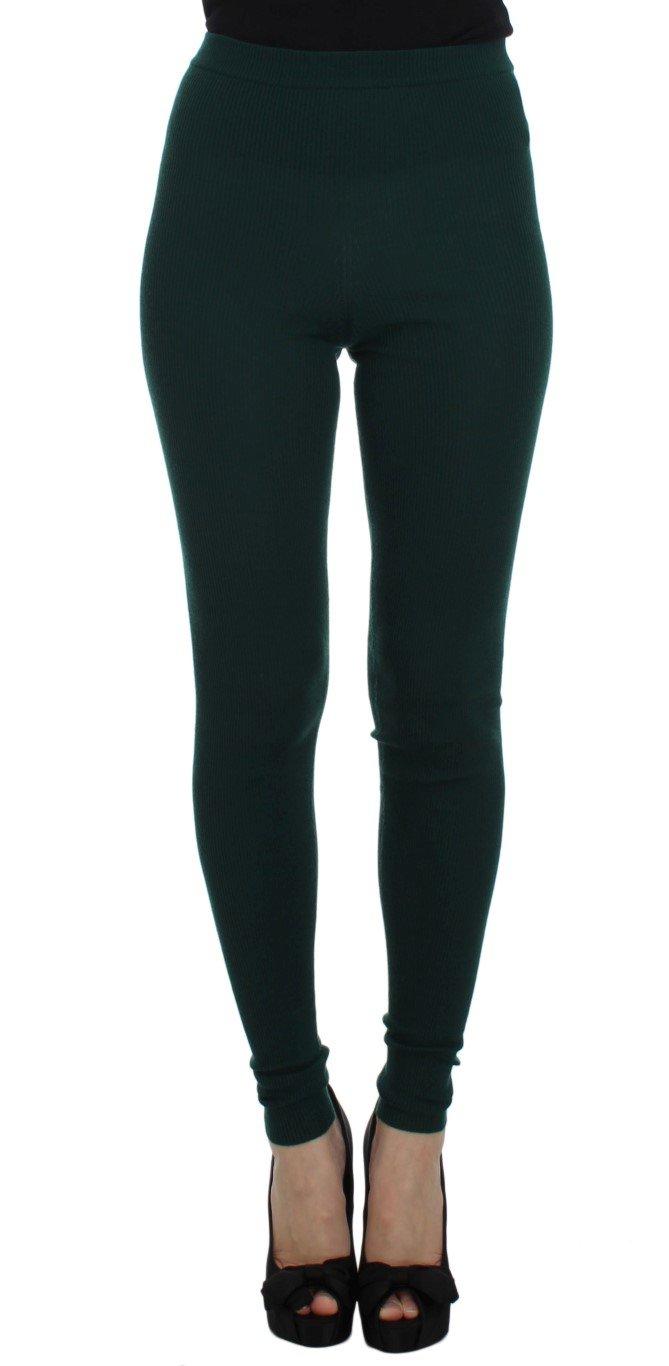 Dolce & Gabbana Women's Cashmere Stretch Tights Trouser Green SIG30807 - IT42|M