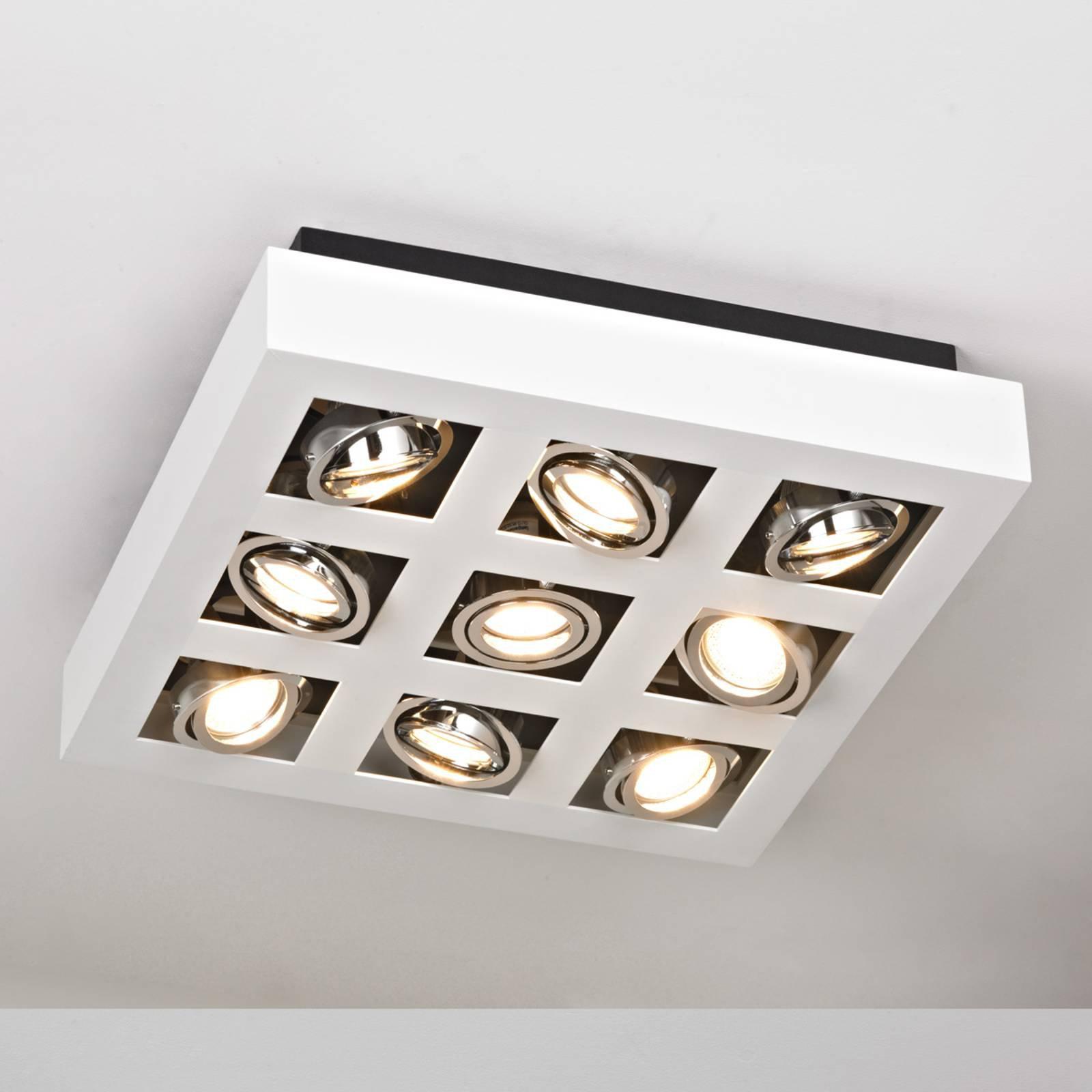 Klart lysende LED-taklampe Vince, 9 lys