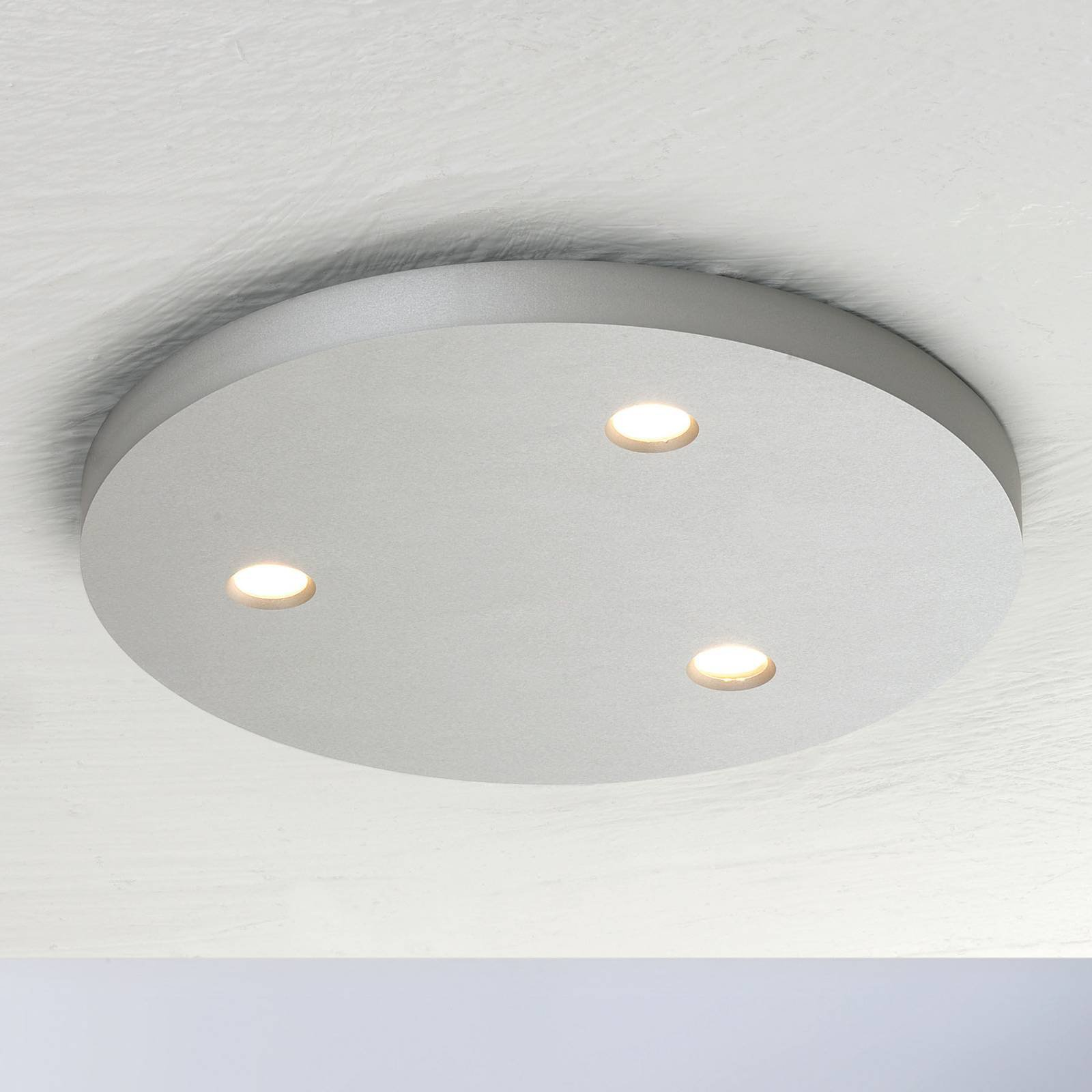 Bopp Close LED-taklampe, tre lyskilder, rund, alu