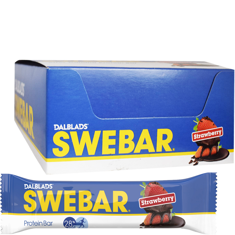 "Hel Låda Proteinbars ""Strawberry"" 20 x 55g - 36% rabatt"