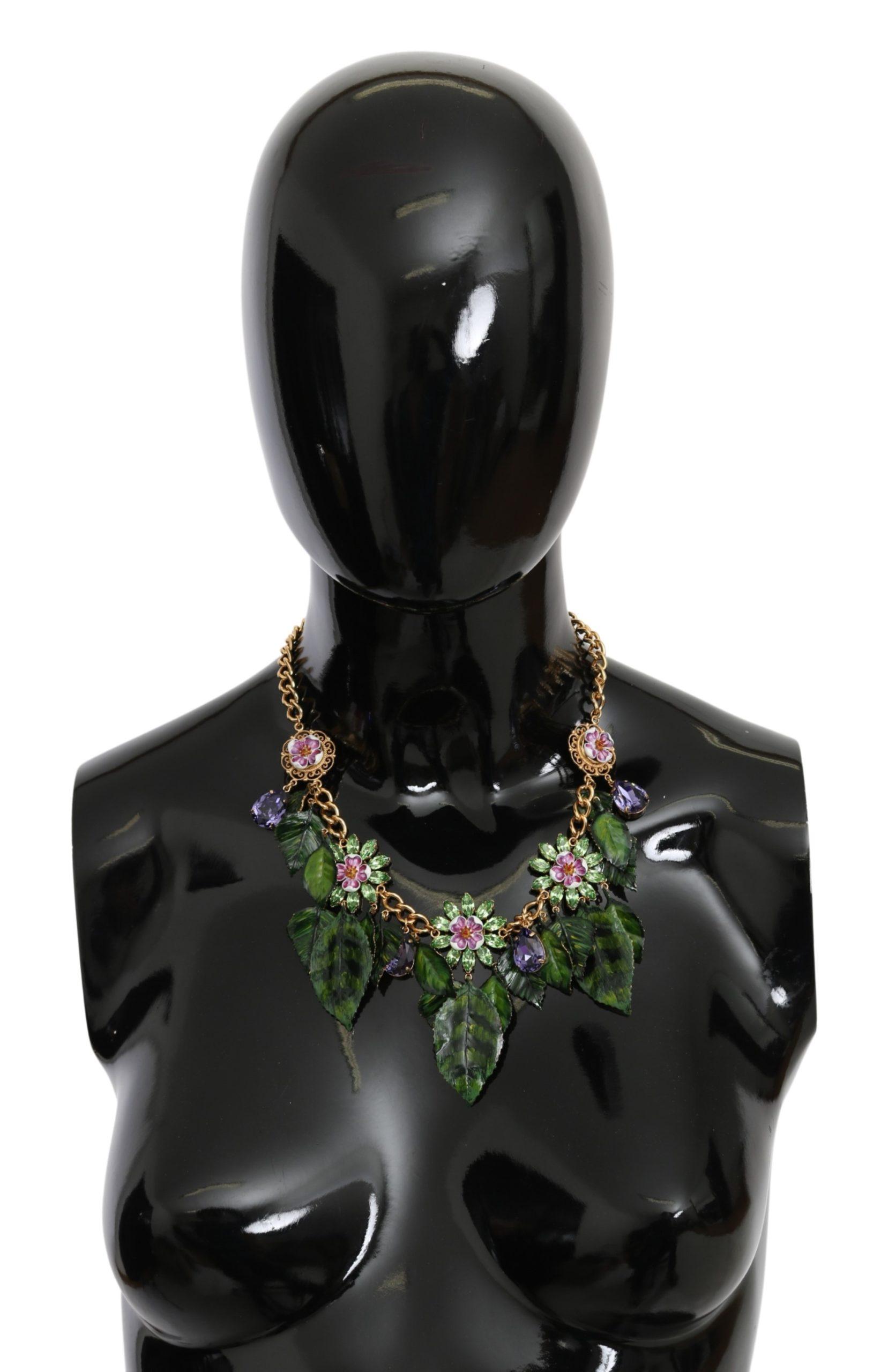 Dolce & Gabbana Women's Leaves Brass Crystal Necklace Gold SMY10075