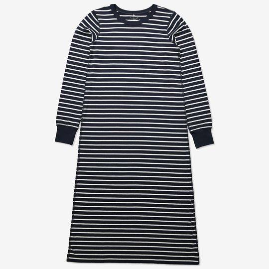 Stripet nattkjole voksen mørkblå