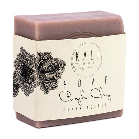 KaliFlower Organics Ekologisk Handgjord Tvål - Lila lera & Frankincense, ca. 120 g