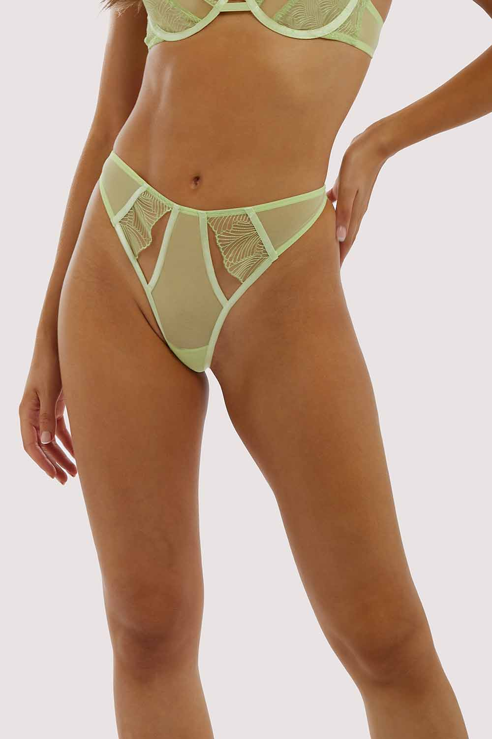 Wolf & Whistle Taha Green Cut out thong UK 10 / US 6