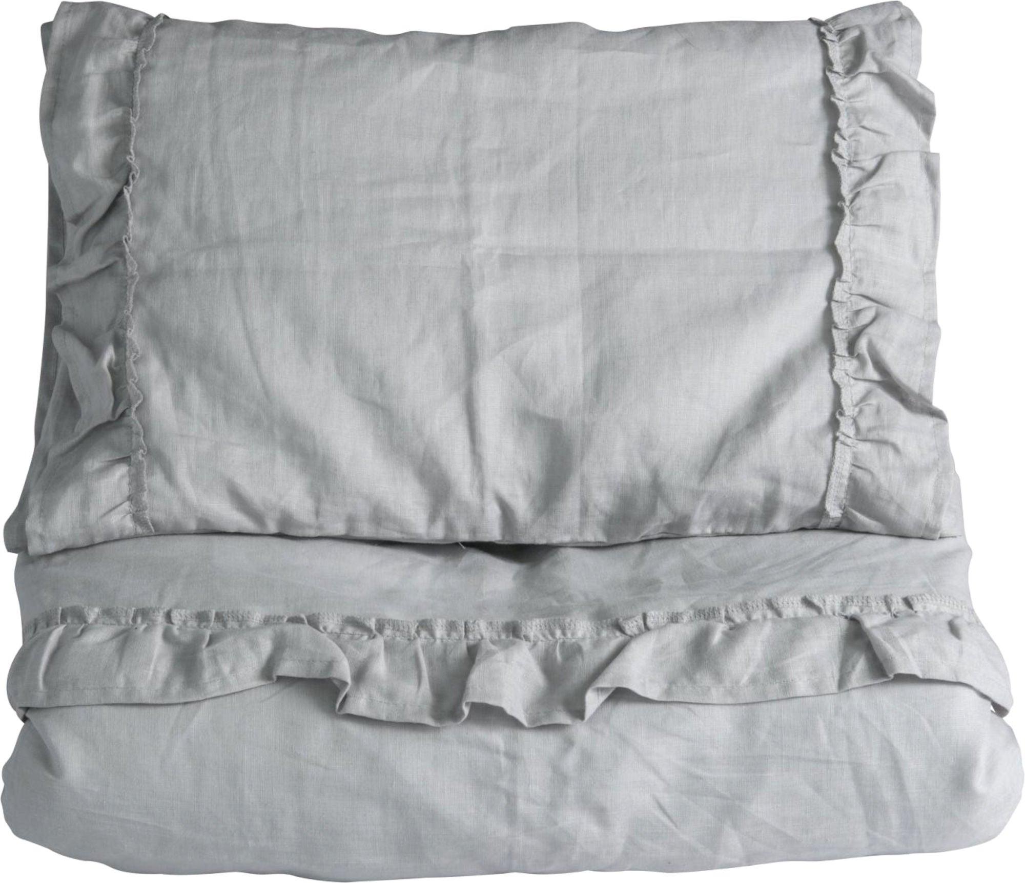 NG Baby Påslakanset 80x70 Mood Ruffles, Light Grey