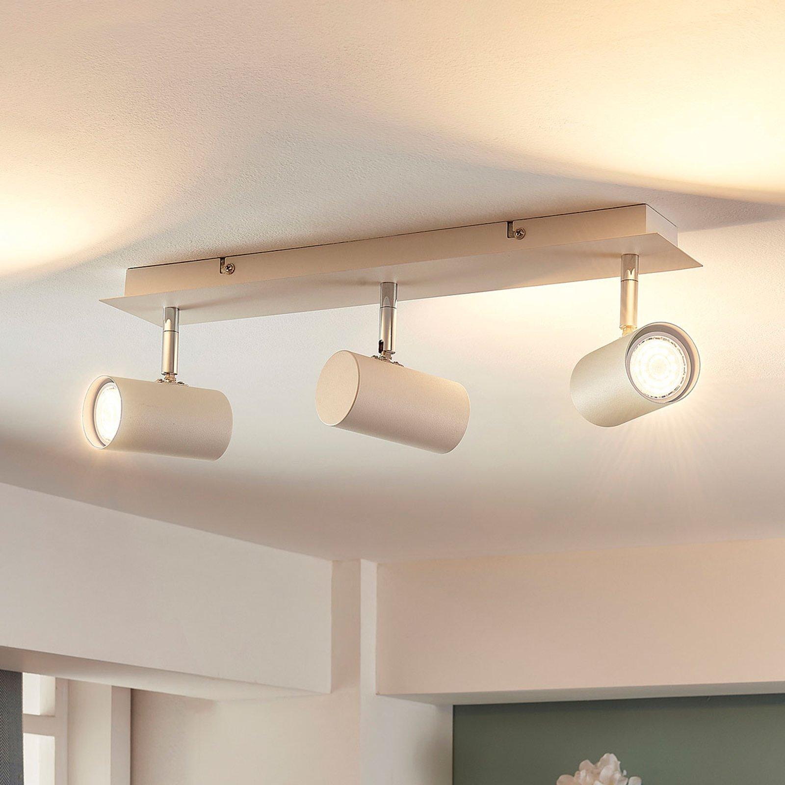 LED-taklampe Iluk i hvitt, med tre lys